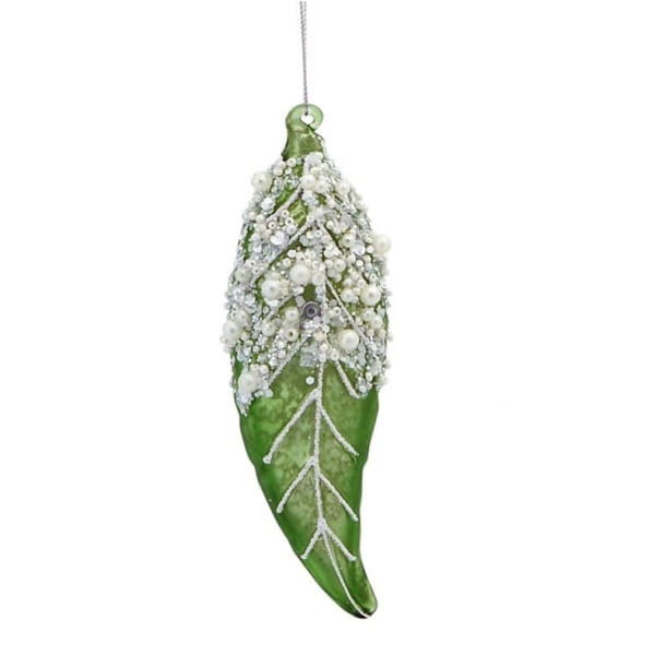 "5.5"" Earthy Green Beaded Leaf Foliage Christmas Ornament"