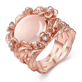 Rose Gold Plated Floral Spiral Ivory Onyx Ring