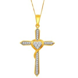 0.15cttw Diamond Cross Pendant With Necklace Set With Heart 10K Yellow Gold Eternal Love
