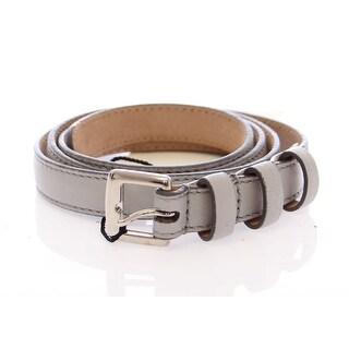 Dolce & Gabbana Gray Leather Logo Belt