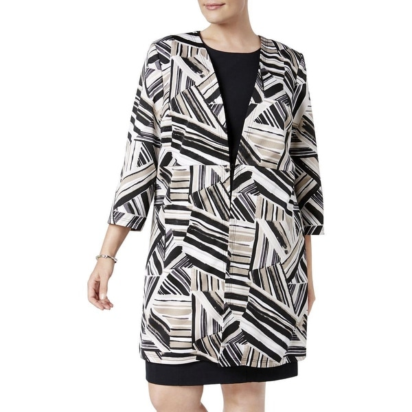 Kasper Brown Womens Size 16W Plus Abstract-Print Ottoman Jacket