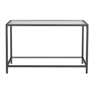 Offex Camber Console Table - Pewter/Clear Glass