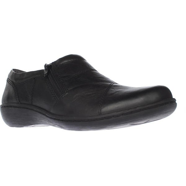 Clarks Fianna Ellie Slip-On Wedge Loafers, Black Leather