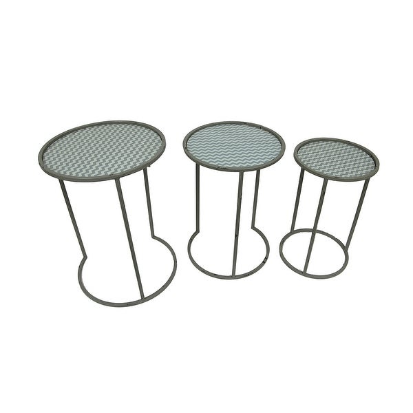 Green and gray chevron stripe round glass and metal nesting tables green and gray chevron stripe round glass and metal nesting tables set of 3 watchthetrailerfo