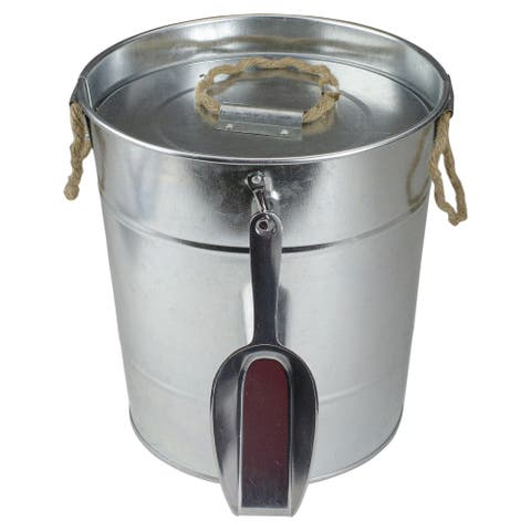 "8.25"" Round Tin Ice Bucket With Scoop and Plastic Insert"