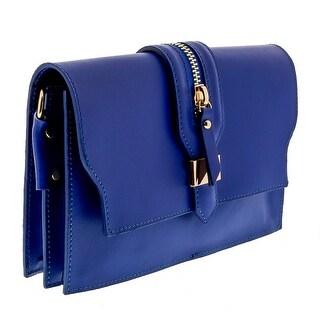 HS1168 BLU CLO Blue Leather Clutch/Shoulder Bag