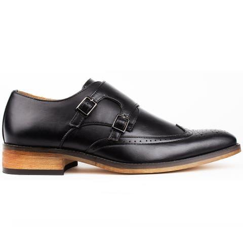 Gino Vitale Men's Monk Strap Brogue Dress Shoes