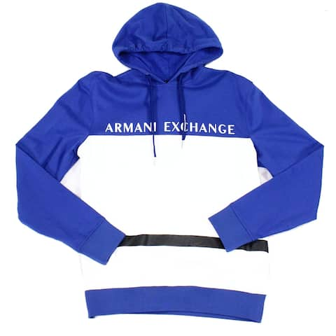 Armani Exchange Mens Hoodie Blue White Small S Colorblock Logo Pullover