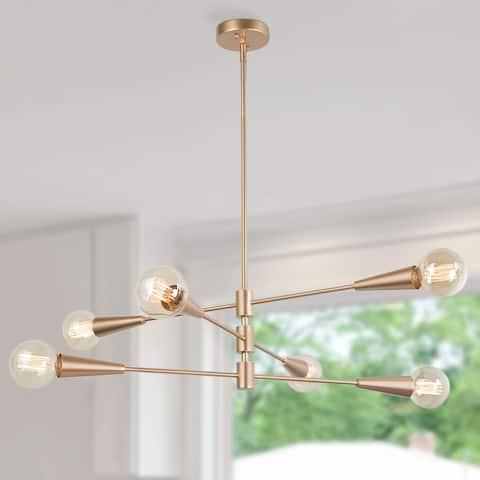 Modern Gold Artistic 6-Light Linear Sputnik Ceiling Chandelier - L31.1'' * W31.1'' * H8.7'