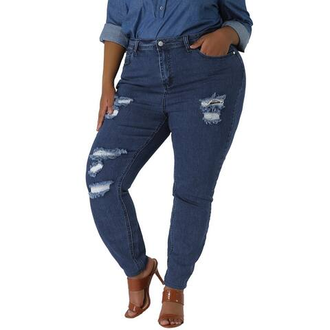Women's Plus Size Zip Fly Mid Rise Skinny Ripped Jeans