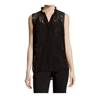 Lafayette 198 York Black Women Small S Lace Button-Up Tank Top