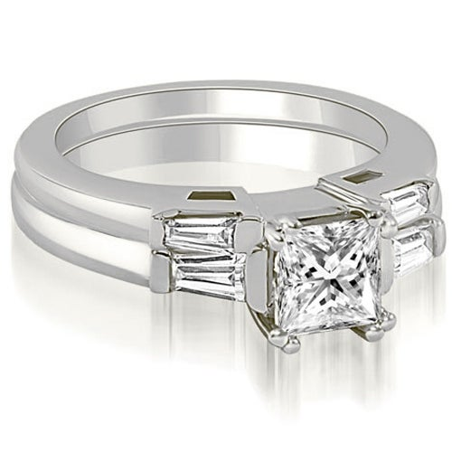 0.80 cttw. 14K White Gold Princess Baguette Cut Three Stone Diamond Bridal Set