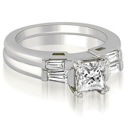 1.05 cttw. 14K White Gold Princess Baguette Cut Three Stone Diamond Bridal Set