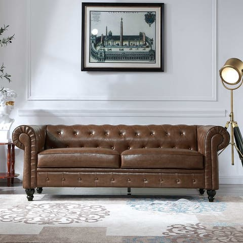 Retro style PU Couch,Chesterfield Sofas by TiramisuBest-Brown