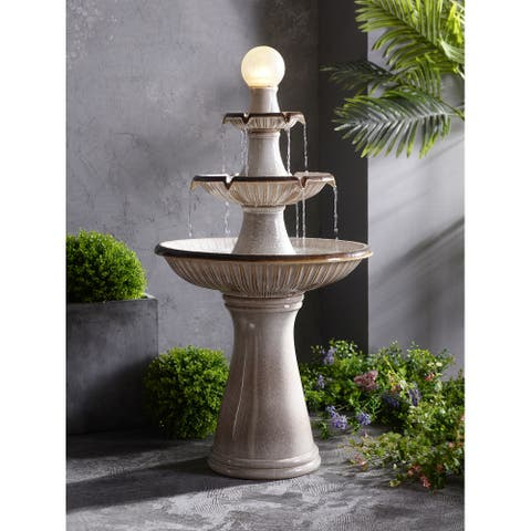 """Abbeville Ivory Ceramic Tall Tiered Fountain with Light - 23.8"""" x 45.3"""""""