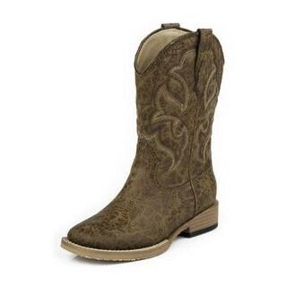 Roper Western Boots Boys Kids Stitch Vintage Tan