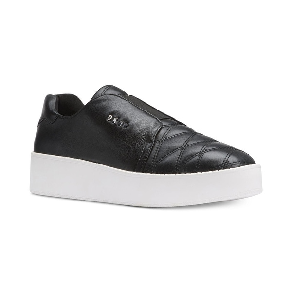 1cbb777af29 DKNY Womens Parker Platform Sneaker Leather Low Top Slip On Fashion Sneakers  - Black - 6.5
