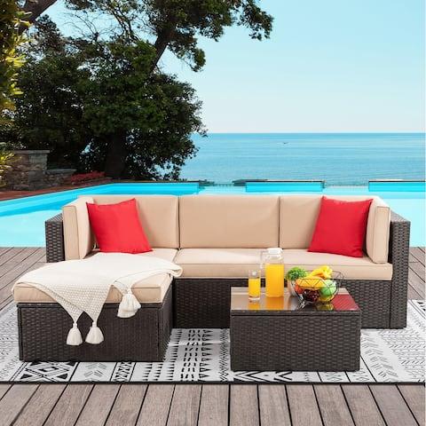 Futzca 5 Piece Outdoor Patio Furniture Set, All-Weather PE Wicker Sectional Patio Sofa Conversation Set with Ottoman (Beige)