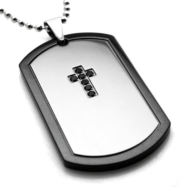 Stainless Steel Two-Toned Black CZ Dark Cross Dog Tag Pendant - 24 inches