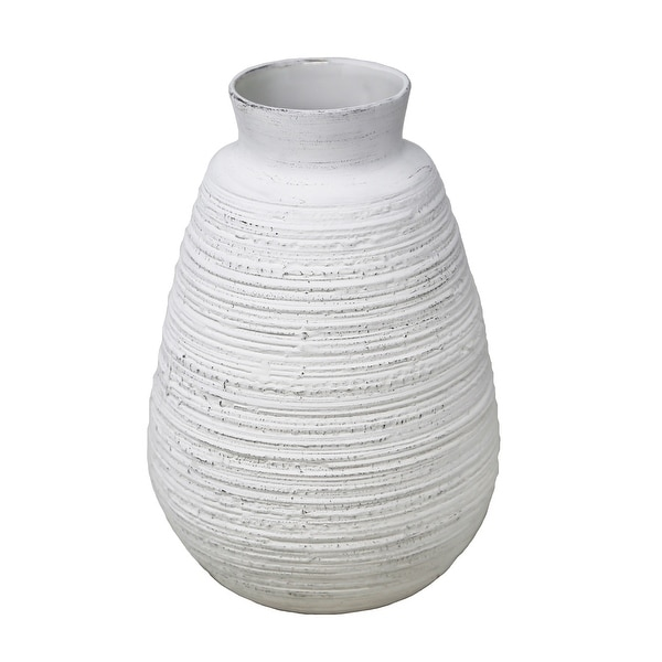 Ceramic Wire Brushed Texture Vase With Wide Open Mouth And Round Base, Antique White