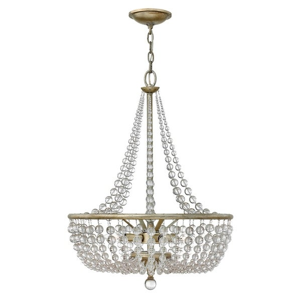 Fredrick Ramond FR43754 4-Light 1 Tier Empire Chandelier from the Caspia Collection - silver leaf