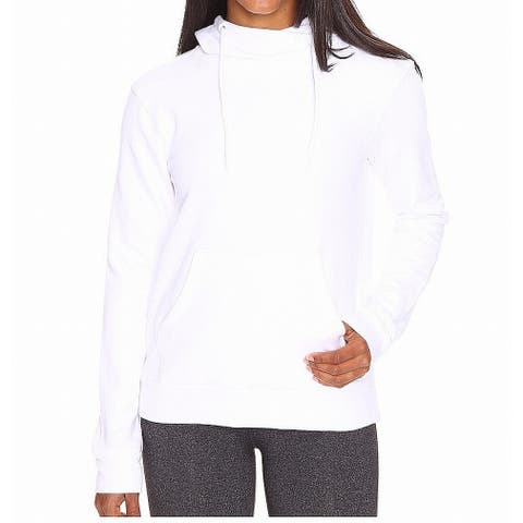 Adidas Womens Hoodie White Size XL Drawstring Kangaroo Pocket Stretch