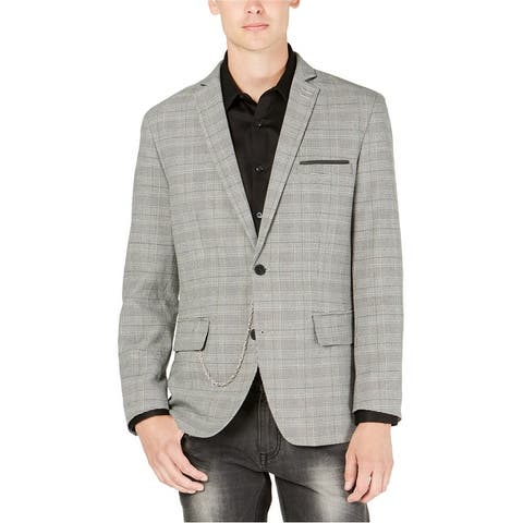 I-N-C Mens Plaid Milan Two Button Blazer Jacket