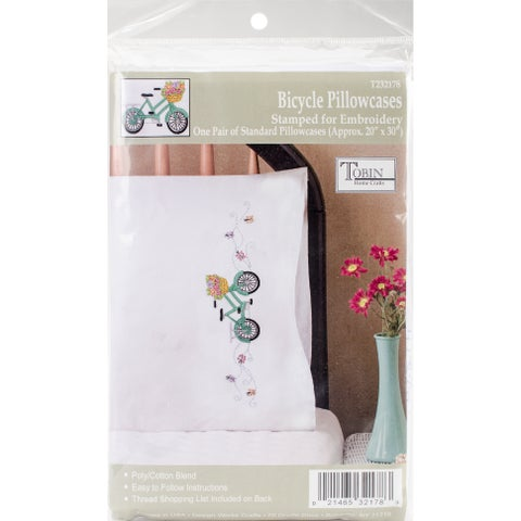 "Tobin Stamped For Embroidery Pillowcase Pair 20""X30""-Bicycle"