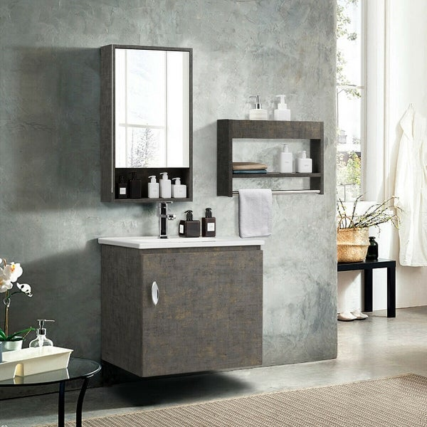 Gymax Modern Wall-Mounted Bathroom Vanity Sink Set w/Medicine Cabinet & Storage Rack - as pic