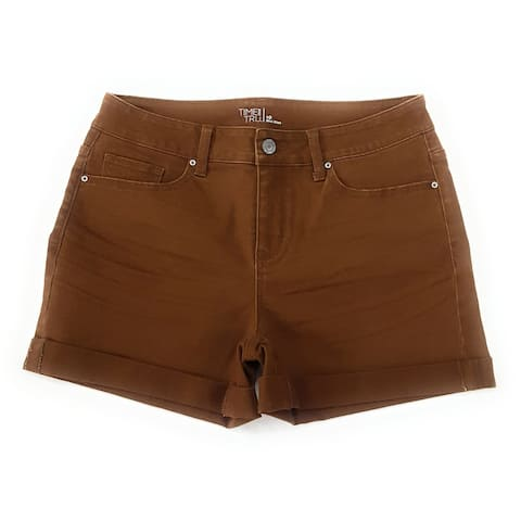 Time and Tru Women's Mid Rise Short, Brown, 10
