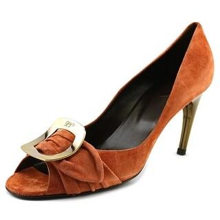 Roger Vivier Spuntata Gigi T.85 Women Peep-Toe Suede Orange Heels