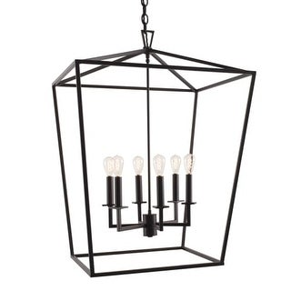 """Norwell Lighting 1082 Cage 6 Light 24"""" Wide Candle Style Chandelier with Steel Cage"""