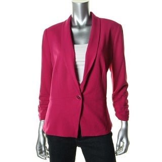DKNY Jeans Womens Solid Ruched One-Button Blazer - L
