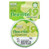 BeadSmith Flex-Rite Beading Wire, 49 Strand .014 Thick, 30 Foot Spool, Pearl Silver
