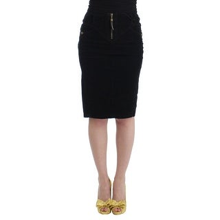 Cavalli Cavalli Black corduroy pencil skirt - it40-s