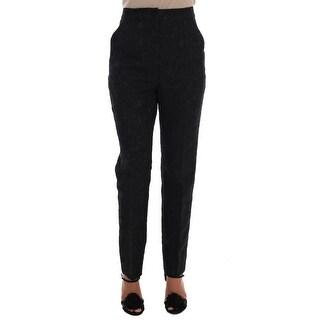 Dolce & Gabbana Black Floral Brocade High Waist Pants - it44-l