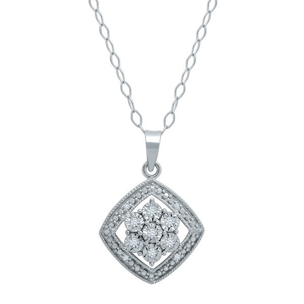 Drop Tile Flower Pendant with Diamonds in Sterling Silver