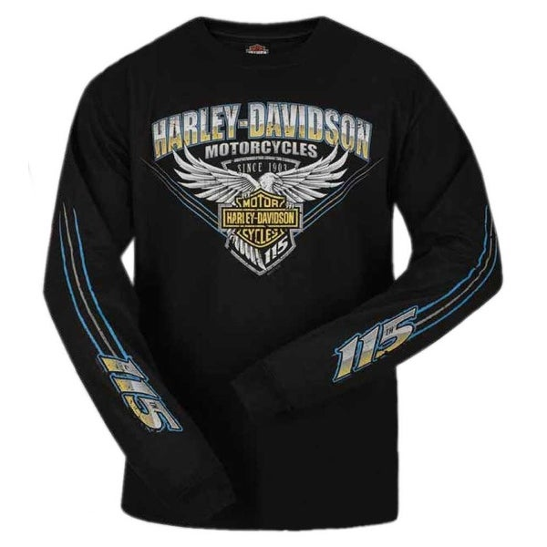 9df32985db77 Shop Harley-Davidson Men s 115th Anniversary Stripe Eagle Long Sleeve Shirt