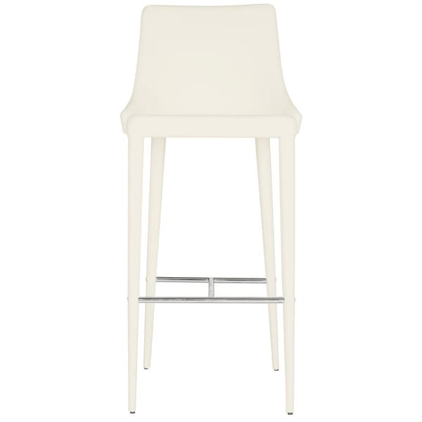 "Safavieh Mid-Century Dining Summerset Modern 42-inch White Leather Bar Stool - 21.2"" x 18.9"" x 41.8"""