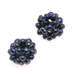 Peacock Blue Cultured Seed Pearls Woven Ball Focal Beads 13mm (2)