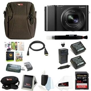 Panasonic Lumix DMC-ZS100 Digital Camera w/ Mini Portable LED Light & 64 GB SD Card Bundle (Black)