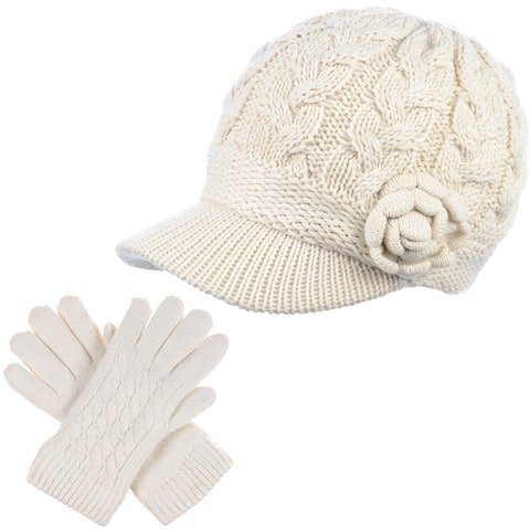 Soft Winter Fleece Lined Knit Hat and Glove Set