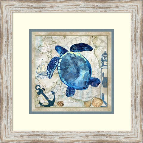 Framed Art Print 'Nautical Turtle' by Jill Meyer-Outer Size 18x18-inch