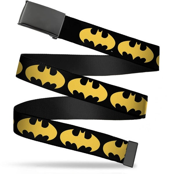 Blank Black Buckle Bat Signal 1 Black Yellow Webbing Web Belt