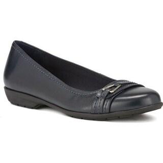 Walking Cradles Women's Flynn Ballet Flat Navy Leather