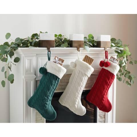 "SAFAVIEH Holiday Cinnamon Hanging Knit Pom-Pom Stocking (Set of 3) - 12"" W x 20"" L"