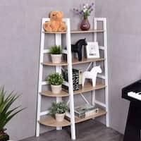 Costway 2PCS 4-Tier Corner Shelf Bookshelf Set Ladder Storage Rack Holder Organizer - as pic