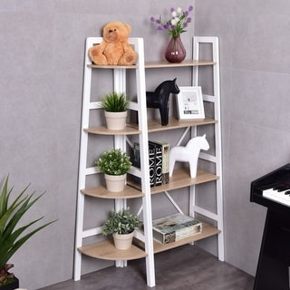Costway 4 Tier Wood Corner Bookcase Ladder Shelf Wall Unit Bookshelf Display Stand Rack