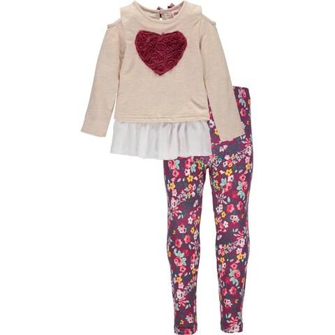 Little Lass Girls 4-6X Heart Top Legging Set