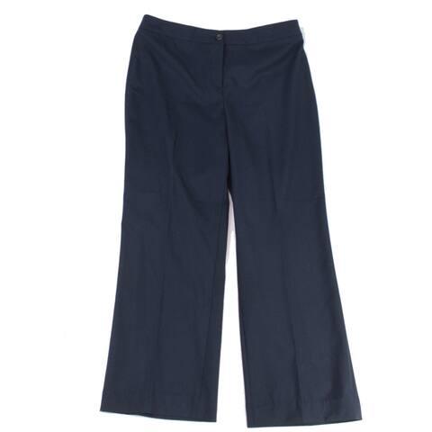 Jones York Women's Dress Pants Blue Size 10X28 Flat Front Stretch